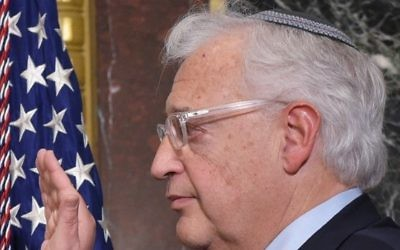 David Friedman is sworn in as the US ambassador to Israel during a ceremony in the Eisenhower Executive Office Building, next to the White House in Washington, DC, on March 29, 2017. (AFP/Mandel Ngan)