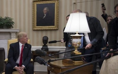 US President Donald Trump takes a question from the Danish press during a meeting with Danish Prime Minister Lars Lokke Rasmussen at the White House in Washington, DC, March 30, 2017. (Jim Watson/AFP)