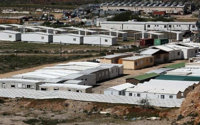 A partial view taken on March 31, 2017, shows dismantled caravans from the Amona outpost placed in the West Bank outpost of Shilo. (AFP/Thomas Coex)