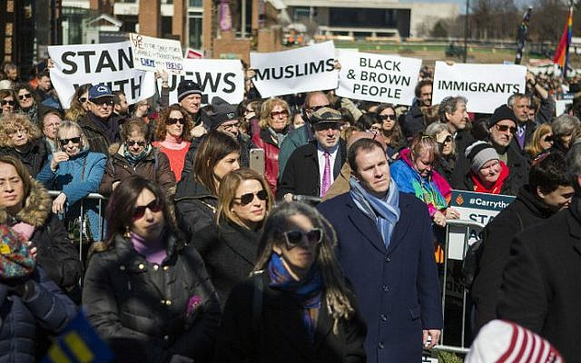 People demonstrate at a Stand Against Hate rally at Independence Mall on March 2, 2017 in Philadelphia, Pennsylvania. (Jessica Kourkounis/Getty Images/AFP )