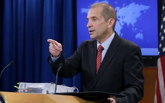 State Department deputy spokesman Mark Toner answers reporters' questions during the department's first on-camera briefing since President Donald Trump was inaugurated March 7, 2017 in Washington, DC. (Chip Somodevilla/Getty Images/AFP)