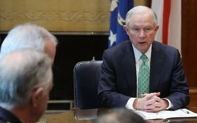 US Attorney General Jeff Sessions meets with police chiefs from major cities of the Chiefs of Police Association, at the Justice Department, on March 16, 2016 in Washington, DC. (Mark Wilson/Getty Images/AFP)