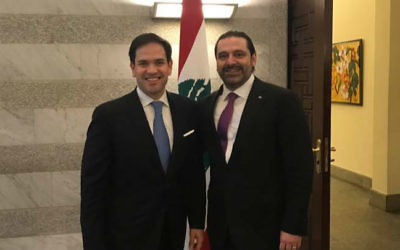 Florida Senator Marco Rubio meets Prime Minister Saad Al-Hariri in Beirut, March 18, 2017 (courtesy of the Office of Sen. Marco Rubio)