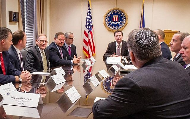 US Jewish leaders meet with the FBI director James Comey to discuss the ongoing investigation of bomb threats to JCCs on March 3, 2017. (Courtesy/Jewish Community Centers of North America )