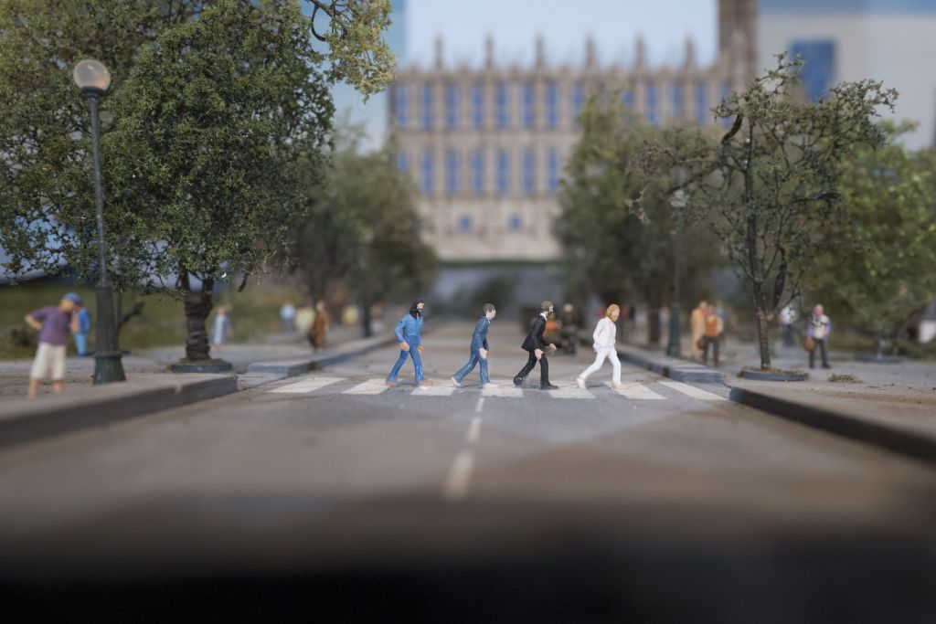 Miniature Beatles crossing a miniature Abbey Road, in the world of Gulliver's Gate. (Courtesy)