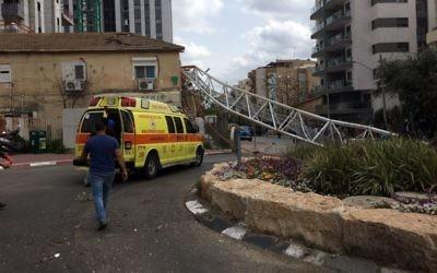 Scene of crane collapse in Tel Aviv suburb of Ramat Gan on March 19, 2017. (Magen David Adom spokesperson)
