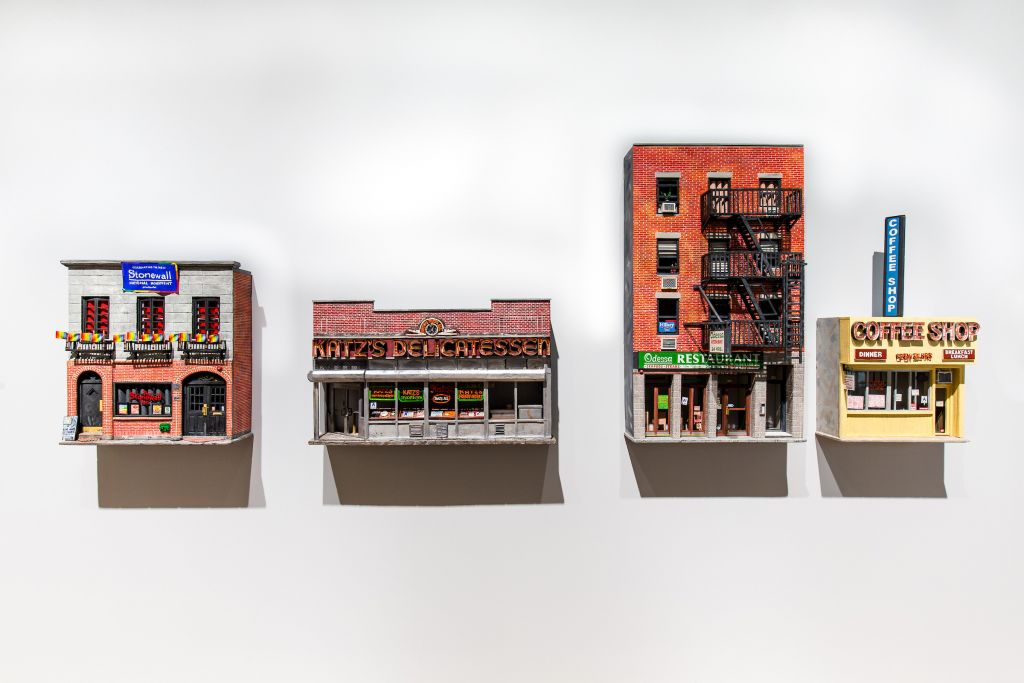 By artist Nicholas Buffon: Left to right: The Stonewall Inn, 2017; Katz's Delicatessen, 2017; Odessa, 2016; Lower East Side Coffee Shop, 2016. Foam, glue, paper, paint. Courtesy of the artist and Callicoon Fine Arts, New York. (Will Ragozzino/SocialShutterbug.com)