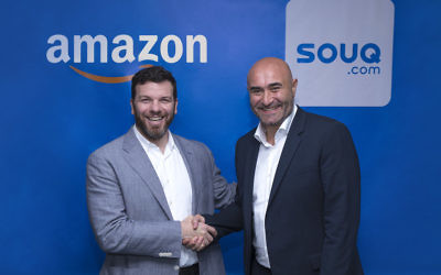 Russ Grandinetti, Amazon Senior Vice President, International Consumer (l) and Ronaldo Mouchawar CEO and Co-Founder, SOUQ.com announcing the sale of the Middle East online retailer to Amazon (courtesy Souq.com)