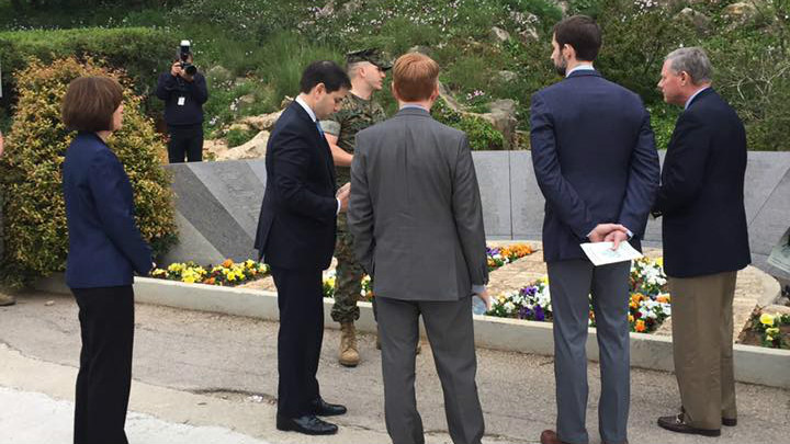 Florida Senator Marco Rubio and other members of Senate's Select Committee on Intelligence visit Beirut Memorial, to the 241 US service personnel, who lost their lives in the 1983 Beirut barracks bombing, March 18, 2017. (courtesy of the Office of Sen. Marco Rubio)