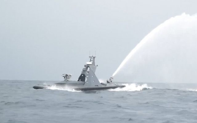 An unmanned Israel Navy ship test fires missile off the coast of Ashkelon on March 7, 2017. (IDF spokesperson)