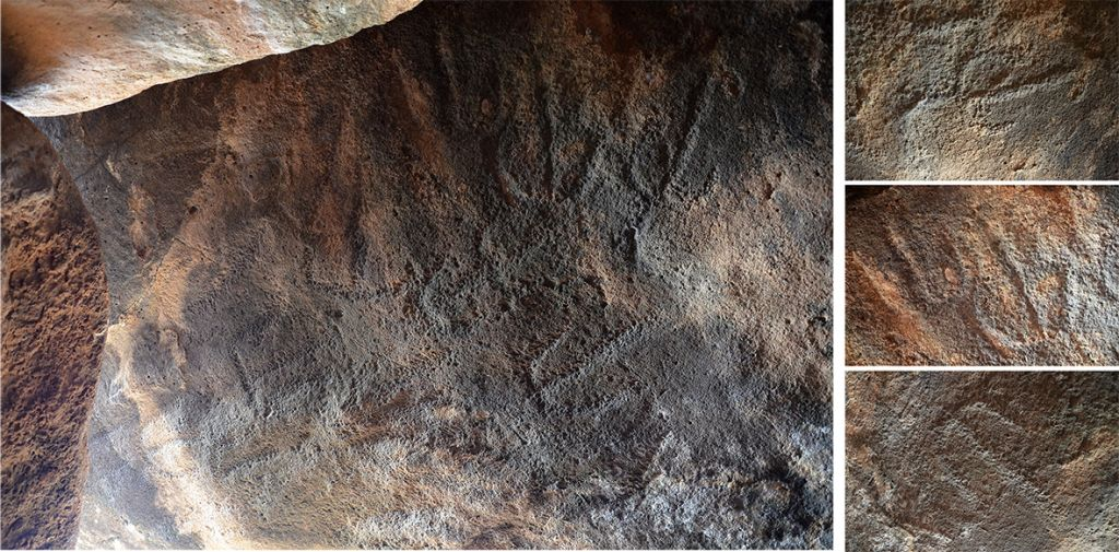 Rock art drawings etched into the dolmen's basalt capstone in the Shamir Dolmen Field. (Gonen Sharon, Tel Hai College)