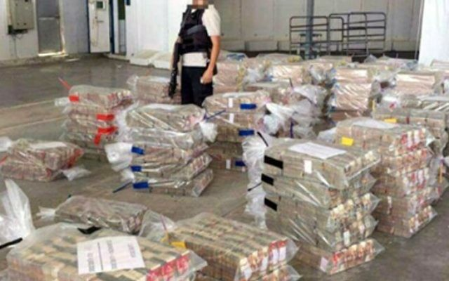 A photo aired by Channel 2 showing a portion of some NIS 300 million in cash ready for tranfer to Gaza, March 20, 2017. (Channel 2)