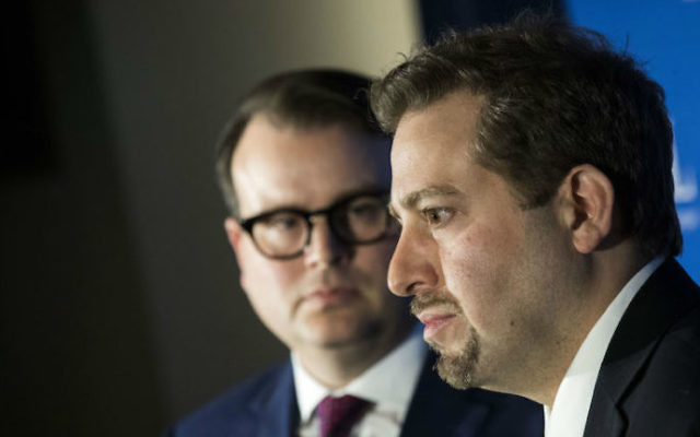 Evan Bernstein, left, and Oren Segal of the Anti-Defamation League at a news conference at ADL headquarters in New York City on the arrest of Juan Thompson, who allegedly made bomb threats against Jewish institutions, March 3, 2017. (Drew Angerer/Getty Images via JTA)