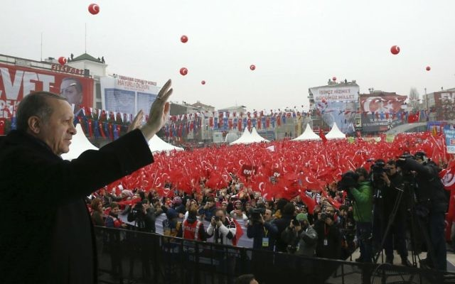 Turkey's President Recep Tayyip Erdogan addresses his supporters in Istanbul, Saturday, March 11, 2017. (Kayhan Ozer/Pool Photo via AP)