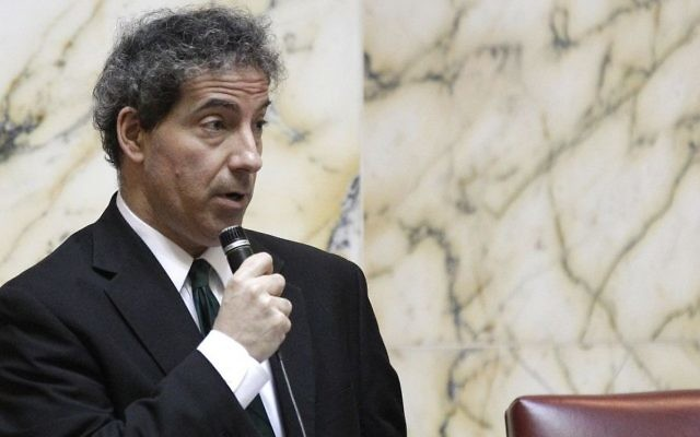 Then Maryland State Sen. Jamie Raskin speaks during a debate on possible amendments to a gay marriage bill in Annapolis, Md., Thursday, Feb. 23, 2012. (AP Photo/Patrick Semansky)