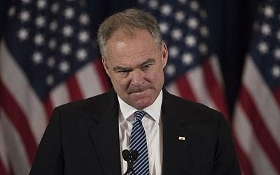 Virginia Sen. Tim Kaine, then a vice presidential candidate, speaks in New York on Wednesday, Nov. 9, 2016 before Democratic presidential nominee Hillary Clinton conceded to Donald Trump. (AP Photo/Matt Rourke)