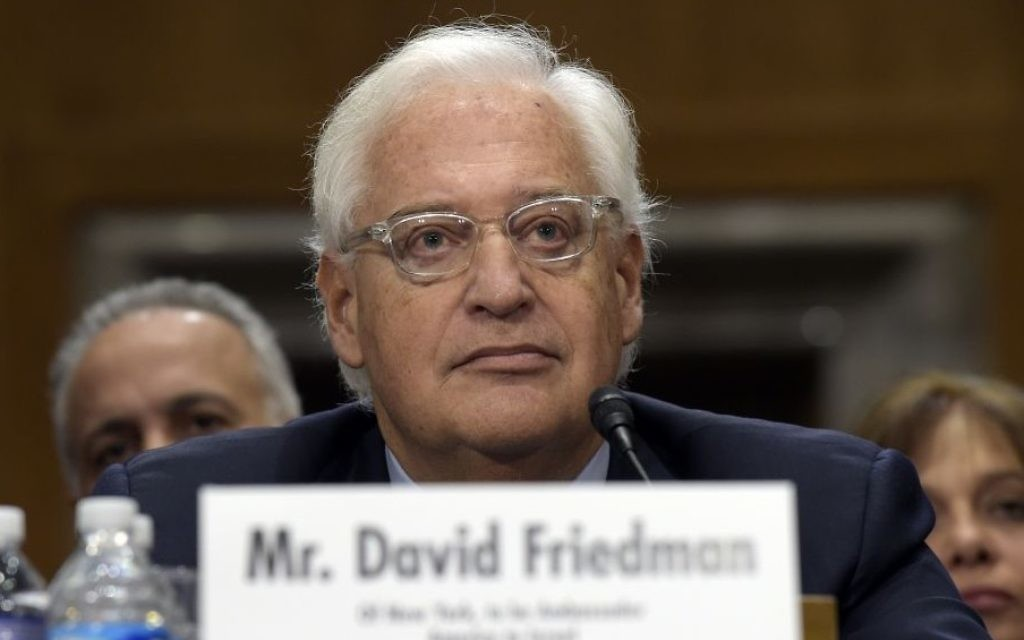 David Friedman, confirmed as US Ambassador to Israel, testifies on Capitol Hill in Washington, Thursday, Feb. 16, 2017, at his confirmation hearing before the Senate Foreign Relations Committee. (AP Photo/Susan Walsh)