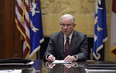 Attorney General Jeff Sessions holds a meeting with the heads of federal law enforcement components at the Department of Justice in Washington, February 9, 2017. (AP Photo/Susan Walsh, Pool)