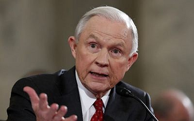 In this Jan. 10, 2017 file photo, then-Attorney General-designate, Sen. Jeff Sessions, R-Ala., testifies on Capitol Hill in Washington at his confirmation hearing before the Senate Judiciary Committee. (AP/Alex Brandon, File)