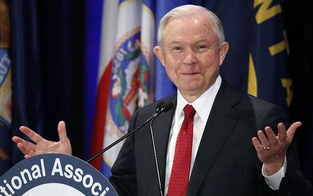 In this Feb. 28, 2017, photo, Attorney General Jeff Sessions pauses while speaking at the National Association of Attorneys General annual winter meeting in Washington. (AP Photo/Alex Brandon)
