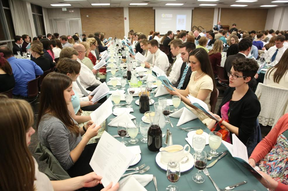 Students attend Brigham Young University's model seder, March 11, 2016. (Jaren Wilkey/BYU)