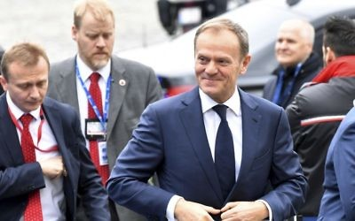 European Council President Donald Tusk arrives for a pre EU Summit meeting of the EPP party at the Academie Royale in Brussels on Thursday, March 9, 2017 (AP Photo/Geert Vanden Wijngaert)