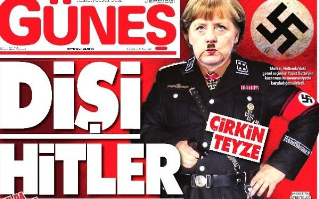 Turkish daily depicts Merkel as 'Frau Hitler' on front page