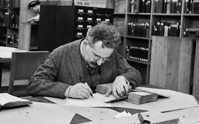 Walter Benjamin at the Bibliothèque Nationale, Paris, 1937. (© Gisèle Freund - RMN, image provided by IMEC, Fonds MCC, Dist. RMN-Grand Palais / Art Resource, New York)