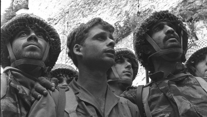 The iconic Rubinger photo of the three paratroopers at the recaptured Western Wall in June 1967 (Courtesy Rubinger/Knesset Collection)