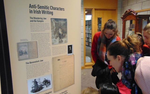 Students from St Angela's School, Ursuline Convent view 'Representations of Jews in Irish Literature' exhibition at Waterford Institute of Technology, Waterford, Ireland, February 2017 (Jennifer Bolger/WIT)