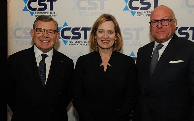 L-R Gerald Ronson, Amber Rudd, Lloyd Dorfman at the CST annual dinner March 1, 2017, (Courtesy CST)