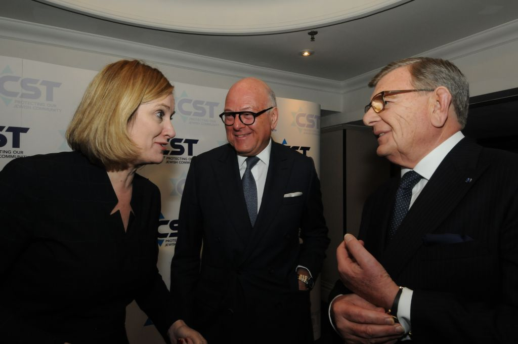 L-R Amber Rudd, Lloyd Dorfman, Gerald Ronson, at the CST annual dinner March 1, 2017, (Courtesy CST)