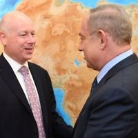 Assistant to the President and Special Representative for International Negotiations Jason Greenblatt (left) with Prime Minister Benjamin Netanyahu at the Prime Minister's Office in Jerusalem, March 13, 2017. (Matty Stern/US Embassy Tel Aviv)