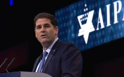 Ron Dermer speaking at the AIPAC Policy Conference in Washington on March 26, 2017. (screen capture: YouTube)