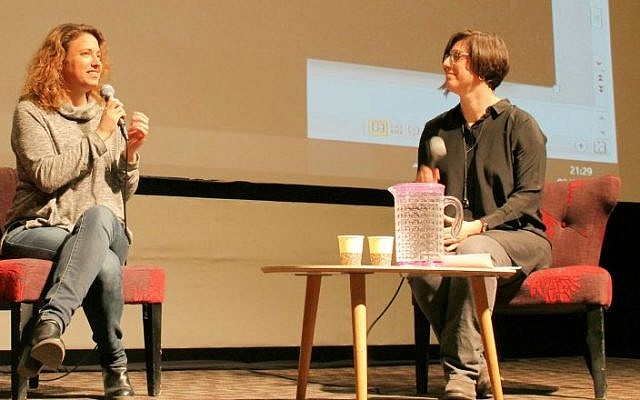 Director Elite Zexer discusses with culture editor Jessica Steinberg the making of her film 'Sand Storm' at a Times of Israel Presents event at the Jerusalem Cinemateque on March 2, 2017. (Amanda Borschel-Dan/Times of Israel)