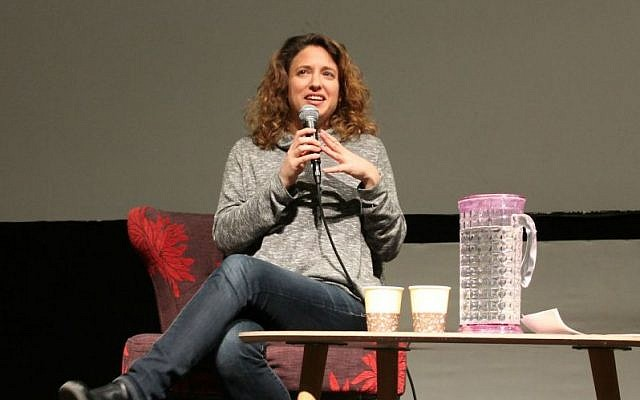 Director Elite Zexer discusses the 12-year journey to making her film 'Sand Storm' at a Times of Israel Presents event at the Jerusalem Cinemateque on March 2, 2017. (Amanda Borschel-Dan/Times of Israel)