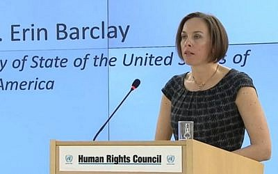 US envoy Erin Barclay addresses the United Nations Human Rights Council March 1, 2017 (Screen capture: UNHRC)
