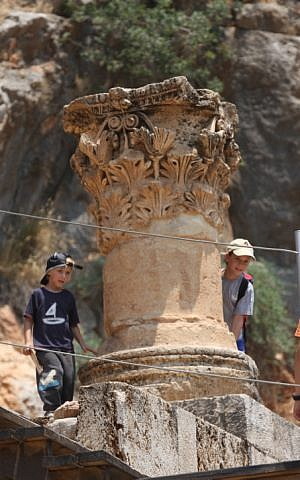 Israeli boys visit the ruins of the ancient Roman city of Paneas, in the Banyas Nature Reserve in the Golan Heights, on July 9, 2008. (Yossi Zamir/ Flash 90)