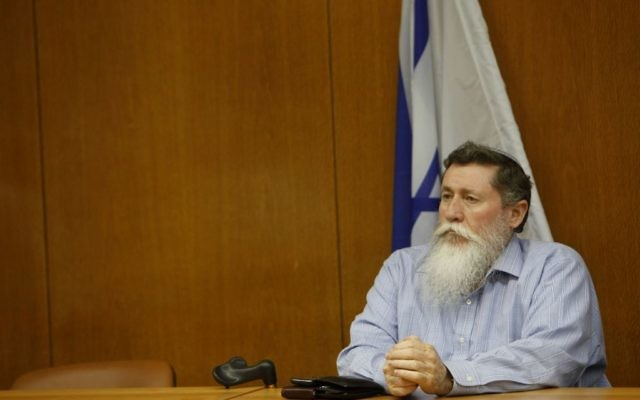 The-then MK and National Union party chairman Yaacov Katz in the Knesset, June 06, 2012. (Miriam Alster/Flash90)