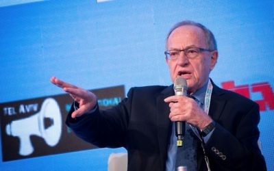 Alan Dershowitz speaks at an event at the David Intercontinental Hotel in Tel Aviv on December 11, 2016. (Miriam Alster/Flash90)