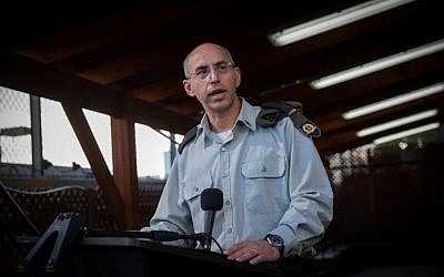 Lt. Col. Nadav Weissman, military prosecutor in the trial against IDF Sgt. Elor Azaria, speaks to press at the Kirya military base in Tel Aviv following the verdict of Azaria on January 4, 2017. (Miriam Alster/FLASH90)