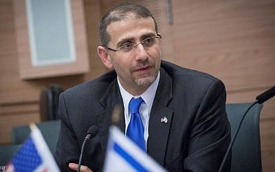 Then US ambassador to Israel Dan Shapiro seen at a farewell session in the Knesset, on January 17, 2017. (Miriam Alster/Flash90)