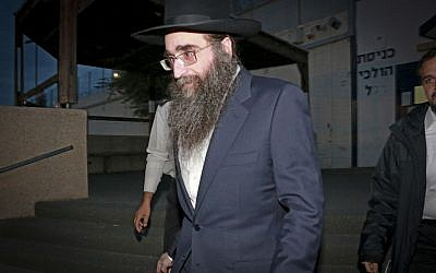 Rabbi Yoshiyahu Yosef Pinto seen after his release from Nitzan Prison on January 25, 2017, after serving one year prison term for attempted bribery. (Roy Alima/Flash90)