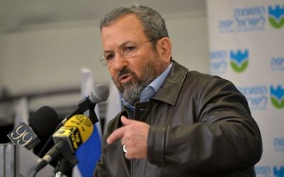 Former Israeli prime minister Ehud Barak attends a press conference organized by the Israeli Labor Party, in Tel Aviv on January 29, 2017. (Flash90)