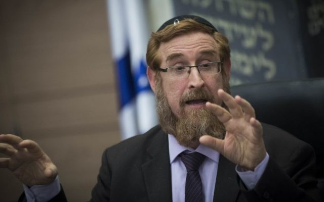 Likud MK Yehuda Glick attends the lobby for encouraging Bible Study, at the Knesset on, January 31, 2017. (Yonatan Sindel/Flash90)