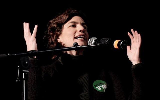 Meretz MK Tamar Zandberg speaks at a rally in support of legalizing marijuana in Tel Aviv on February 4, 2017. (Tomer Neuberg/Flash90)