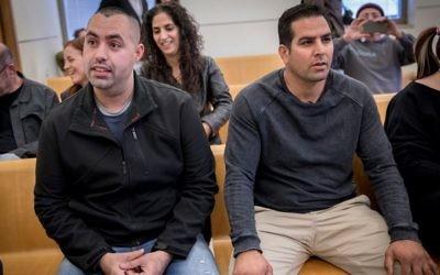 Former Prime Minister's Residence employee Guy Eliyahu (L) and Former Prime Minister's Residence manager Menny Naftali (R) at the National Labor Court in Jerusalem on February 28, 2017. (Yonatan Sindel/Flash90)