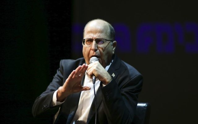 Former Defense Minister Moshe 'Bogie' Ya'alon speaks at a cultural event in Tel Aviv on March 4, 2017. (Flash90)