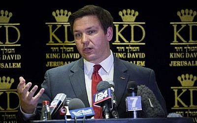 US Congressman Ron DeSantis during a press conference in Jerusalem, March 5, 2017, following a 24-hour tour of congressional representatives studying the possibility of relocating the US Embassy from Tel Aviv to Jerusalem. (Yonatan Sindel/Flash90)