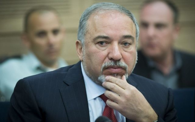 Defense Minister Avigdor Liberman attends the Defense and Foreign Affairs Committee meeting at the Knesset, on March 6, 2017. (Yonatan Sindel/Flash90)
